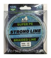 Плетеный шнур Strong Line PE X4 135m 0,20mm/9,07kg green